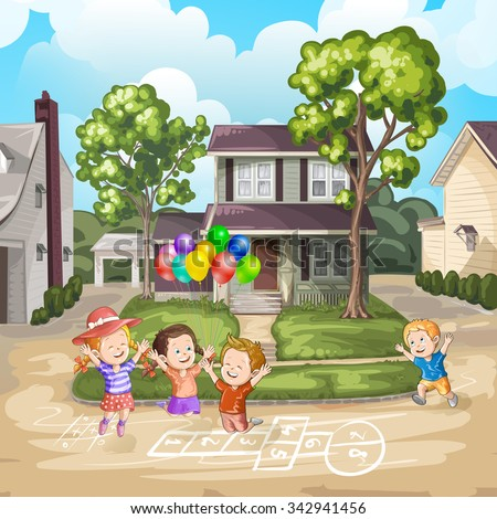 Children playing on the driveway in front of house - stock photo