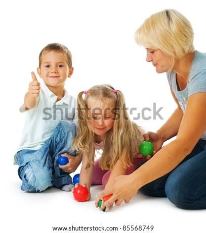 Children playing on the floor.Happy kids.Education. - stock photo
