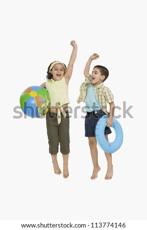Children playing on vacations - stock photo