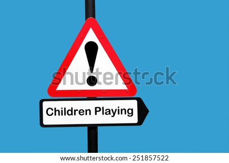 children playing warning sign - stock photo