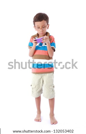 children playing with a cell highly concentrated