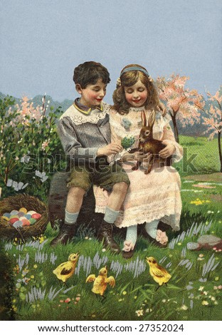 Children playing with Easter bunny - a Victorian style illustration, circa 1912 - stock photo