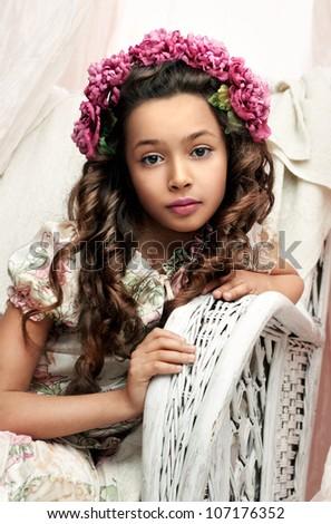 children portrait of the beautiful girl. 10 years. - stock photo