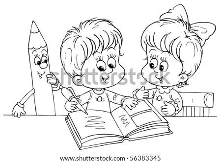 Children reading a book - stock photo