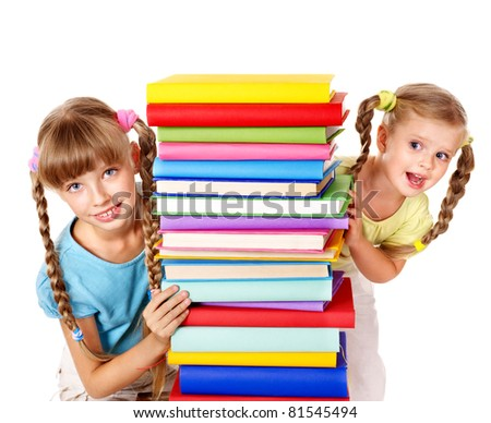 Children reading pile of book. Isolated. - stock photo