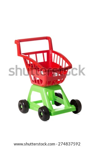 Children red and green empty shopping trolley isolated on white background - stock photo