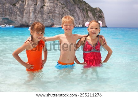Children resting on the sea. Summer vacation.