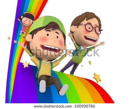 Children riding the rainbow - stock photo