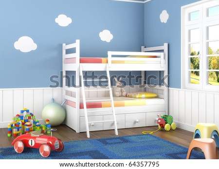 Children room in blue walls with bunk bed and lots of toys on the floor - stock photo