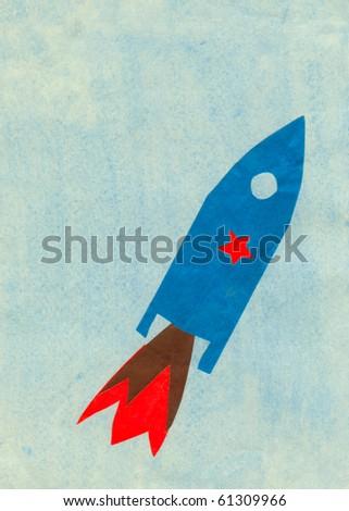 Children's application space rocket - stock photo