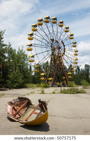 Children's attractions in ruins. Pripyat.2006 - stock photo