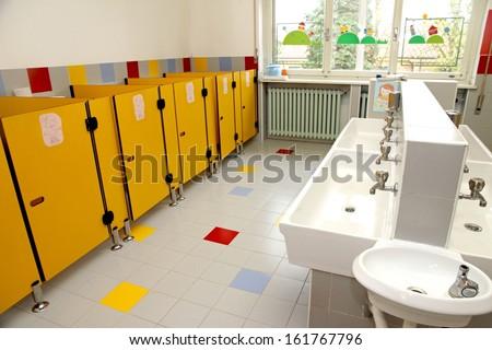 children's bathrooms of a kindergarten - stock photo