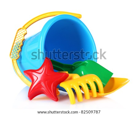 children's beach toys isolated on white - stock photo