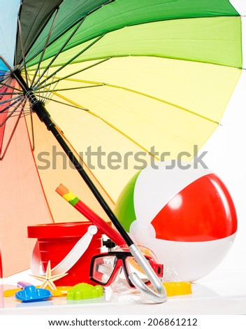 children's beach toys isolated on white background