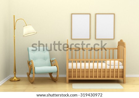 Children's bedroom with a crib, chair and floor lamp, - stock photo