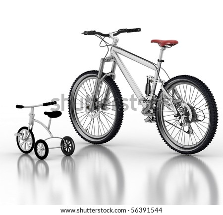 Children's bicycle against a sports bike