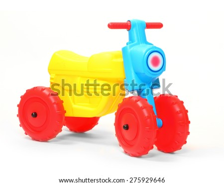 Children's bicycle on a white background. - stock photo