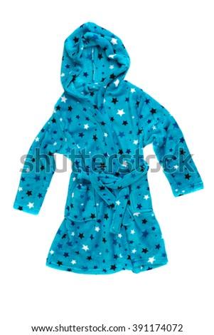 Children's blue bathrobe. Isolate on white. - stock photo