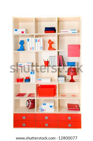Children's case with accessories. Isolation on white - stock photo