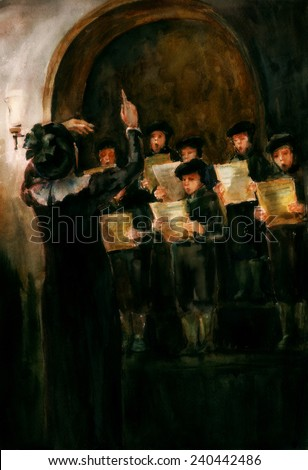 Children's Choir. Children sing in the hall, dressed in medieval style, holding music sheets in their hands. Conductor is staying in front of the choir gesticulating. Watercolor illustration.  - stock photo