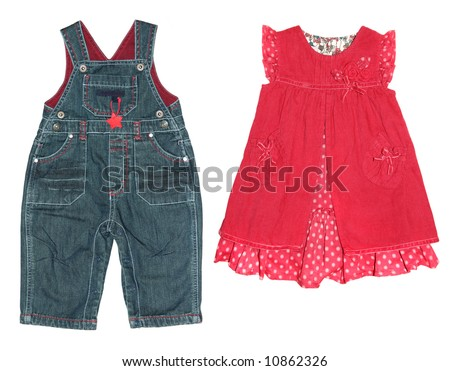 Children's clothes, for girl and boy - stock photo