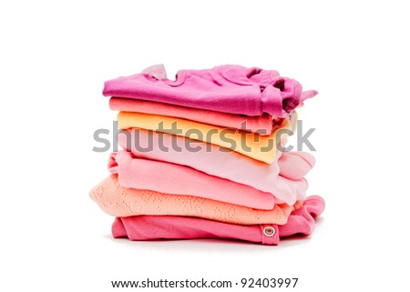 Children's clothes on a white background - stock photo