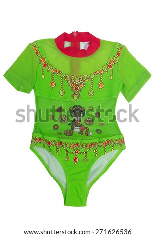 Children's clothing with pattern for ballet and sports. Green jacket. Isolate on white. - stock photo