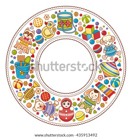 Children's colorful round frame. Kids toy set. Baby background. Happy birthday greeting card. Digital image for invitations, wrapping.  - stock photo