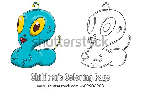 Coloring Page Wacky Crazy Space Alien Stock Illustration 609906908 ...