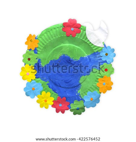 children's crafts - earth with flowers and bird on paper plate isolated on white background