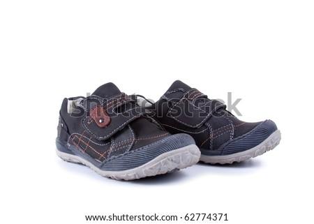 Children's demi boots on a white background - stock photo