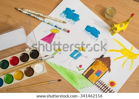 Children's drawing and paints - stock photo