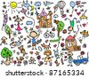 Children's drawings - stock vector