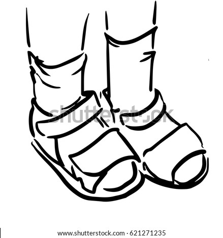childrens feet in sandals and socks black and white sketch of kids feet simple