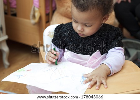 children's games, girls with toys - stock photo