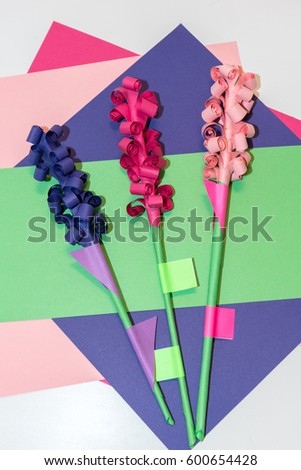Handicraft paper flowers made colorful paper stock photo royalty childrens handicraft paper flowers made of colorful paper and glue rolled up paper mightylinksfo