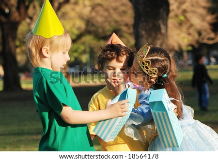 Children's holiday in park. Birthday - stock photo
