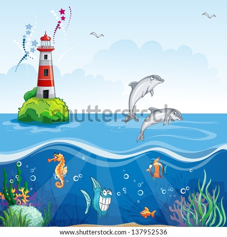 Children's illustration of the lighthouse and the sea dolphins. Raster copy. - stock photo