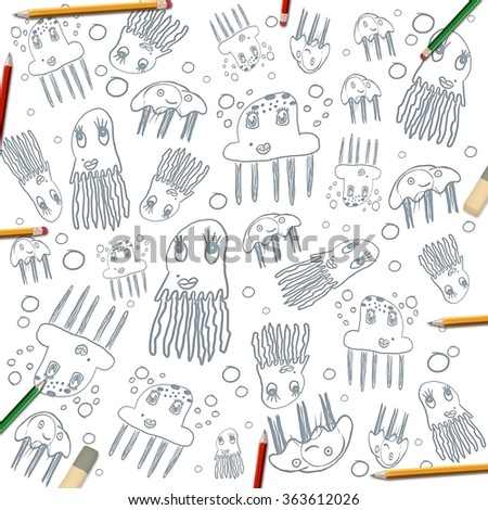 children's jellyfish drawings frame background isolated on white with color pencils - stock photo