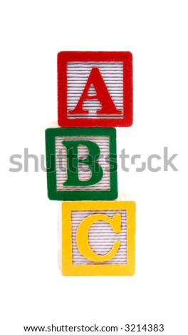 Children's Multi Colored Old Alphabet Building Blocks, Isolated Over White - stock photo