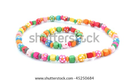 Children's necklace and bracelet. Isolated on white background - stock photo