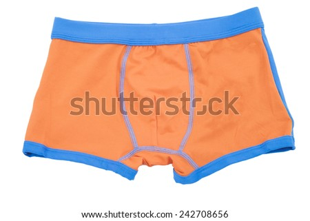 Children's orange swimming shorts isolated on white background.