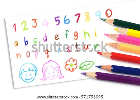 Childrens Painting Colored Pencil Colorful Handwriting ...
