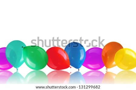 Children's party colorful balloons on floor - stock photo