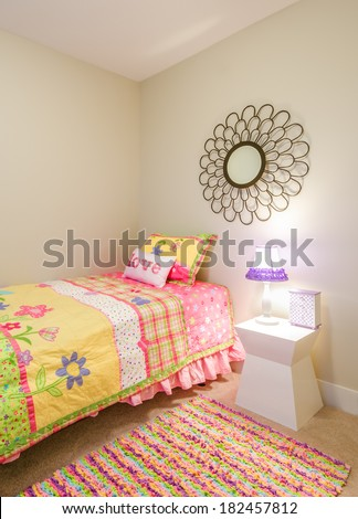 Children's pink princess bedroom playroom. Interior design. - stock photo