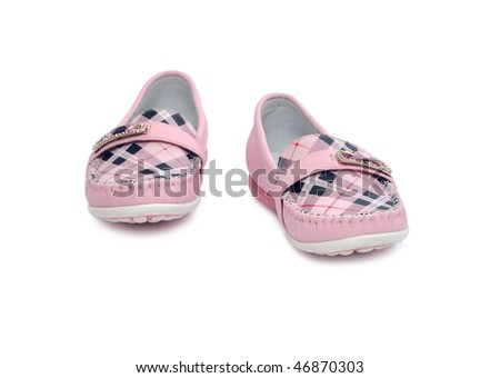 children's pink shoes isolated on white