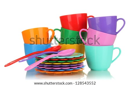 Children's plastic tableware isolated on  white - stock photo