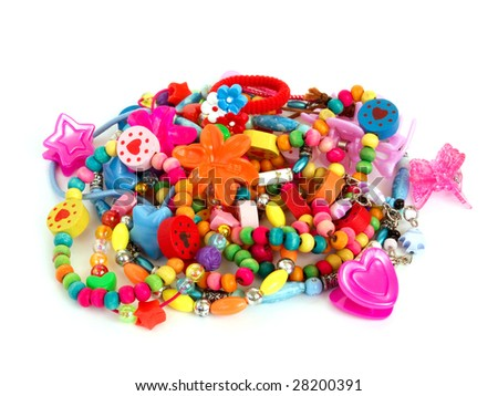 children's plastic, wooden and glass trinkets - stock photo