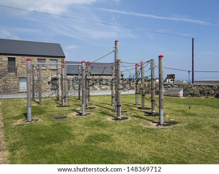 children's play park in small sea side town - stock photo