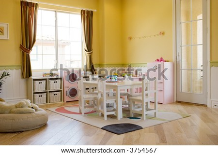Children's playroom decorated for girls - stock photo